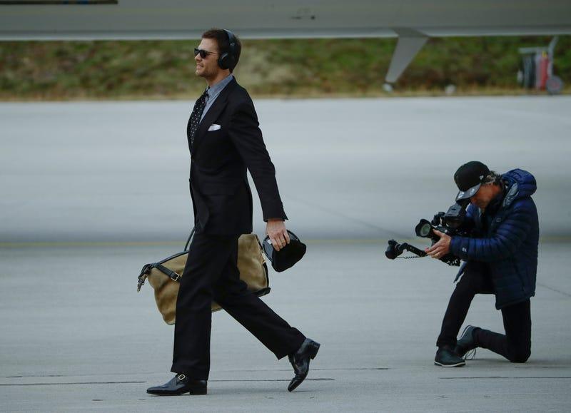 Tom Brady arrives in Atlanta.
