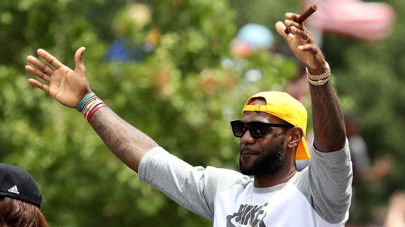 James during the Cavaliers' 2016 NBA Championship parade in Cleveland (Photo: Mike Lawrie/Getty Images)