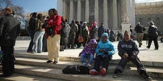 Demonstrators in support of the Voting Rights Act outside the Supreme Court in February (Chip Somodevilla/Getty Images)