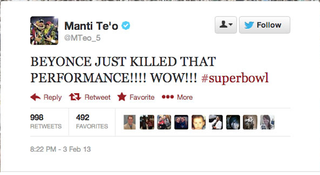 Illustration for article titled Manti Te'o Enjoyed Beyoncé's Halftime Show, Appears To Have Deleted His Twitter Account