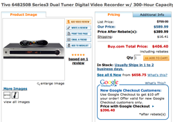 Illustration for article titled Dealzmodo: TiVo Series 3 For $396
