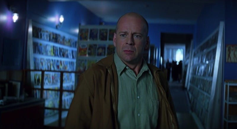 Bruce Willis learns the truth in Unbreakable. Image: Buena Vista Pictures