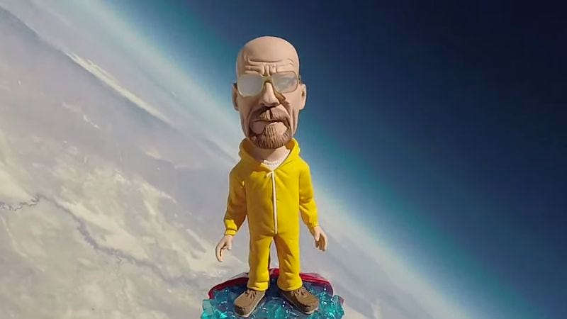 Illustration for article titled Watch science-minded Breaking Bad fans send a Walter White bobblehead into the stratosphere