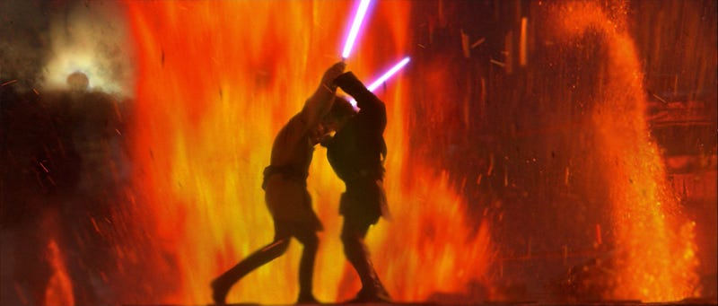 Anakin and Obi-Wan fight on Mustafar in Star Wars Episode III Revenge of the Sith
