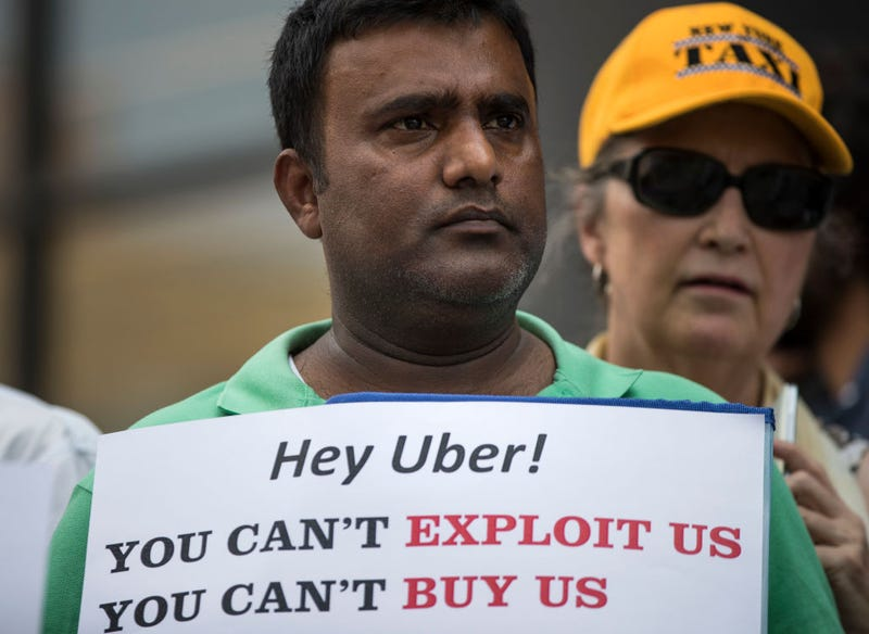 A driver protesting against Uber in New York