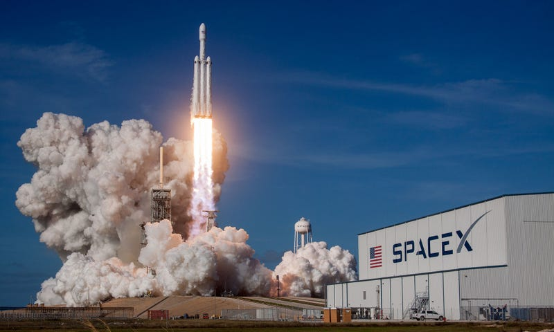 Launch of the SpaceX Falcon Heavy on February 6, 2018.