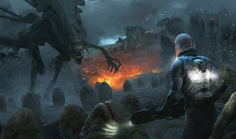Illustration for article titled Aliens vs Dude Who Is About To Get Eaten
