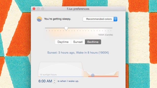 """F.lux for Mac Adds """"Backwards Alarm Clock"""" to Show How Much Sleep You're Missing"""