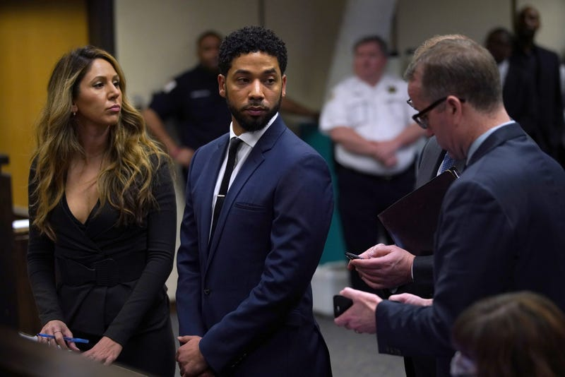 Jussie Smollett appears at a hearing in Chicago March 14, 2019, after he was charged with faking a homophobic, racist attack on himself. Now, executives at his show, Empire, say he and his character won't be back for next season.