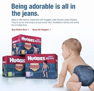 Illustration for article titled Diaper Jeans: For Babies Who Poop In Style