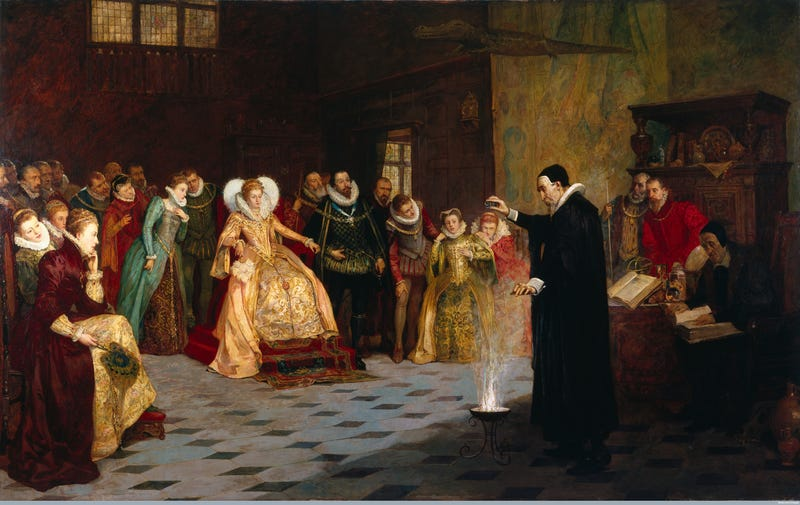 Illustration for article titled There's Something Sinister Hidden in This Painting of 'The Queen's Conjurer'