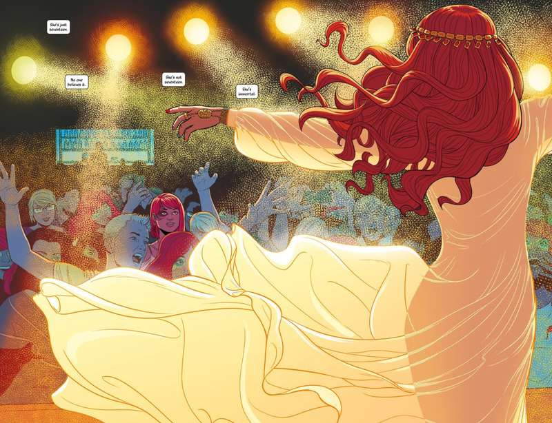 Pop goddess Amaterasu captivates an audience in The Wicked + The Divine #1.