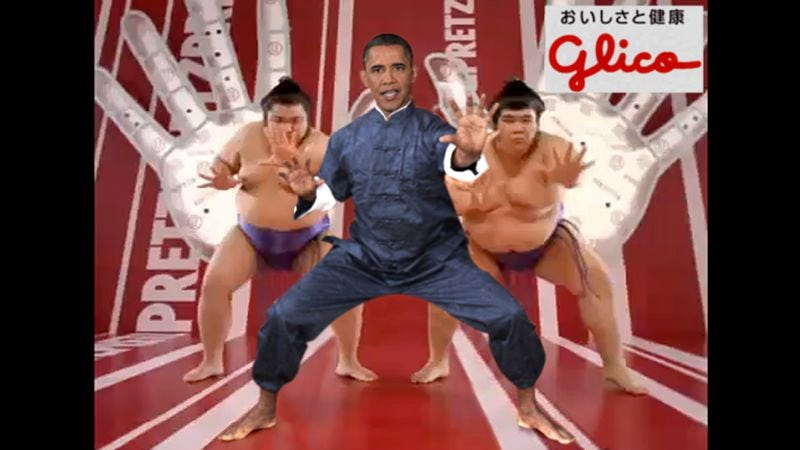 A scene from the president's advertisement for Glico Pretz Ham & Cheese.