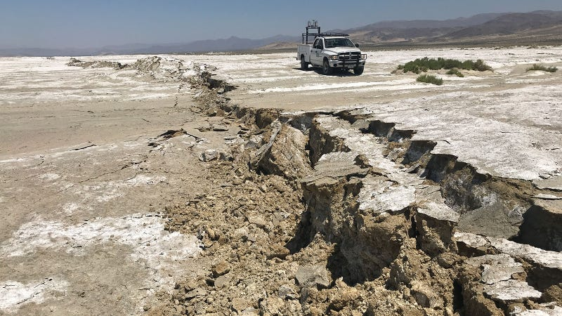 A USGS Earthquake Science Center Mobile Laser Scanning truck analyzes a surface rupture caused by the M7.1 Ridgecrest earthquake in July.