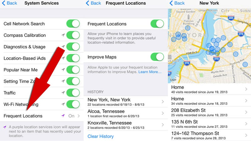 Illustration for article titled iOS 7 Tracks Your Every Move and Displays Your Favorite Places