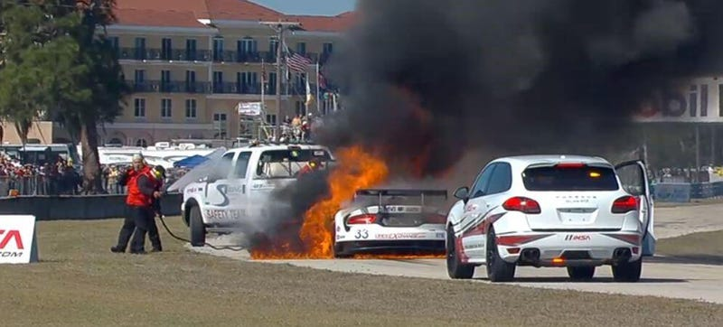 Illustration for article titled This Is What It Looks Like When A Fueled-Up Racer Bursts Into Flames
