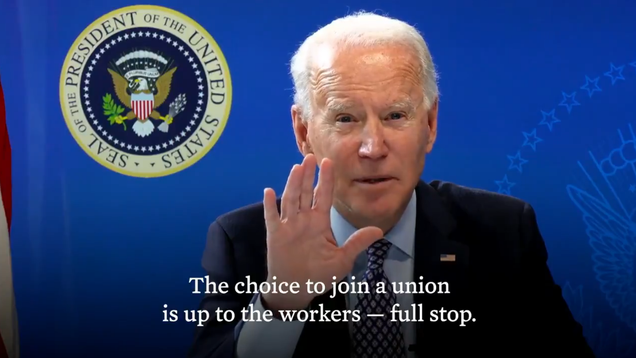 Biden Warns Amazon to Stop Intimidating Warehouse Workers Ahead of Union Vote