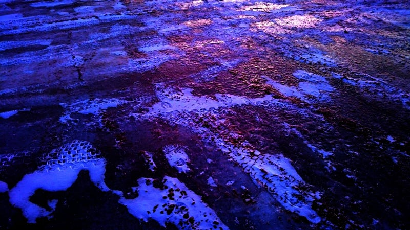 Taken by me (Moon), in early January. In actuality, it's the parking lot at the local firehall. It was treacherously icy.