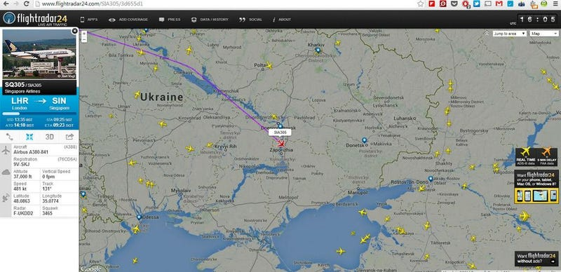 Illustration for article titled Planes Flying Over Ukraine Are Now Changing Course