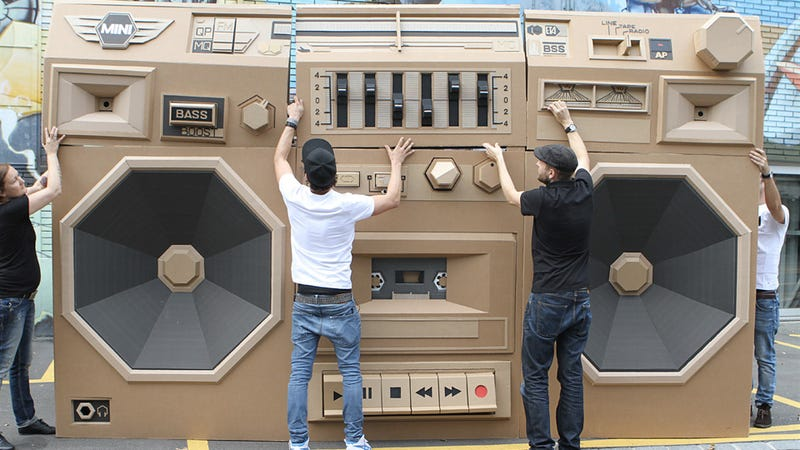 Illustration for article titled Your Next Block Party Needs This Giant Car-Powered Cardboard Boombox