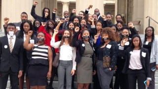 Members of the Nashville Student Organizing Committee at the Tennessee Capitol with a message that voter-ID laws silence students' voices, March 25, 2014, in NashvilleCourtesy of Nashville Student Organizing Committee