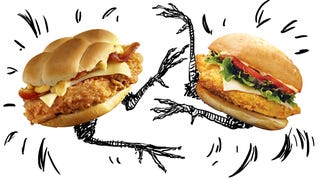 Illustration for article titled Fried Chicken Sandwich Smackdown: Wendy's Vs. KFC