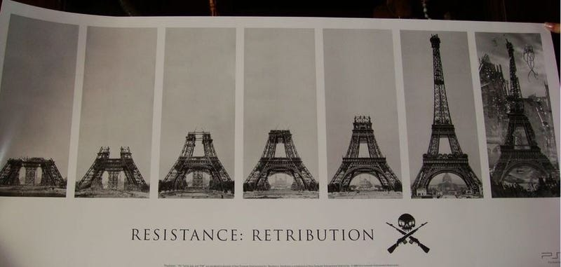 Illustration for article titled Resistance: Retribution Poster Details Collapse of Eiffel Tower