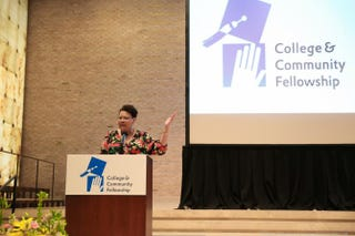 Vivian Nixon speaks at the College and Community Fellowship's 15th graduation ceremony in June 2015.Lee Wexler/Images for Innovation