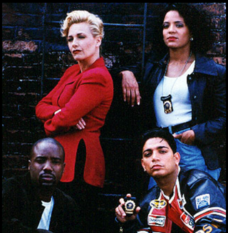 The principal cast members from season 2 of New York Undercover (clockwise from top left): Patti D'Arbanville-Quinn as Virginia Cooper, Lauren Velez as Nina Moreno, Michael DeLorenzo as Eddie Torres and Malik Yoba as J.C. Williams.Wikimedia Commons