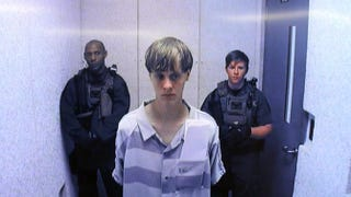 In this image from the video uplink from the detention center to the courtroom, Dylann Roof appears at centralized bond hearing court June 19, 2015, in Charleston, S.C.Grace Beahm-Pool/Getty Images