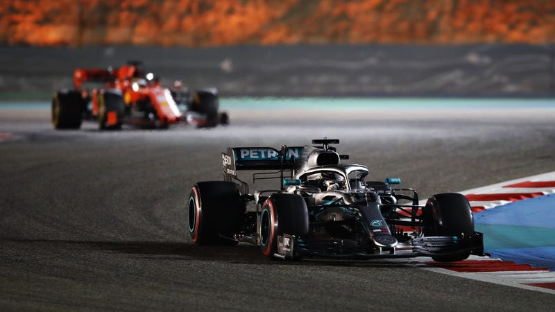 Lewis Hamilton leading Sebastian Vettel at the Bahrain Grand Prix.