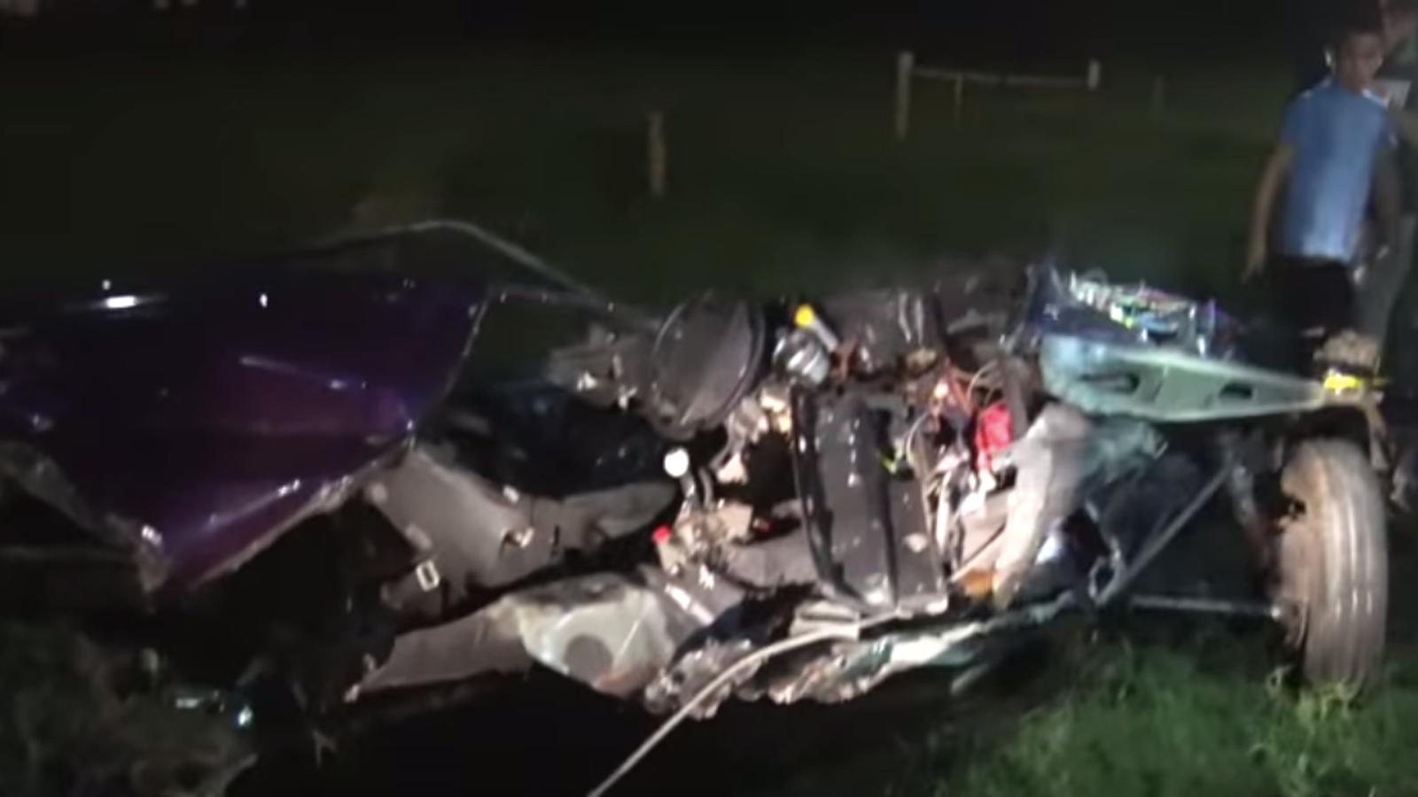 Mustang Split In Half During Idiotic Street Racing Crash