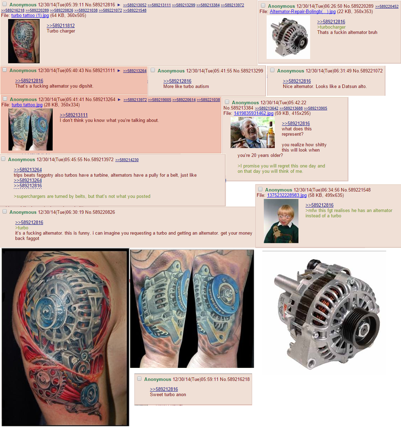 Illustration for article titled Guy gets tattoo of alternator, thinks it's a turbo