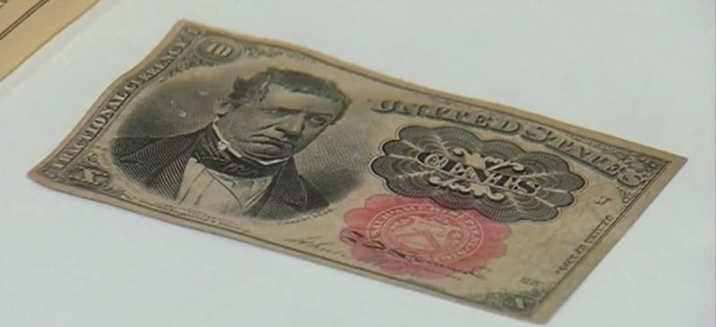 The 10-cent bill that was included in a recently opened time capsule from 1916 (Screenshot from WNYT)