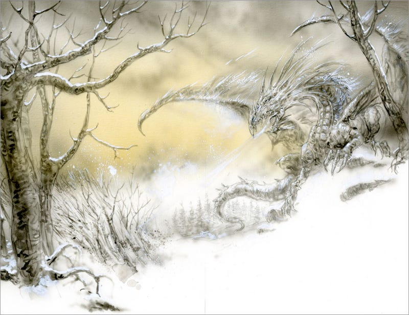 Illustration for article titled Luis Royo's Shining Artwork for George R.R. Martin's The Ice Dragon