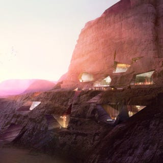 Illustration for article titled This Desert Resort Would Literally Be Carved Into the Side of a Mountain