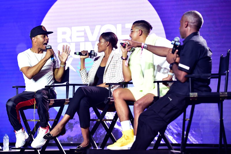 ATLANTA, GEORGIA - SEPTEMBER 14: T.I., Candace Owens, Steven Pargett, and Jeff Johnson speak onstage during day 3 of REVOLT Summit x AT&T Summit on September 14, 2019 in Atlanta, Georgia.