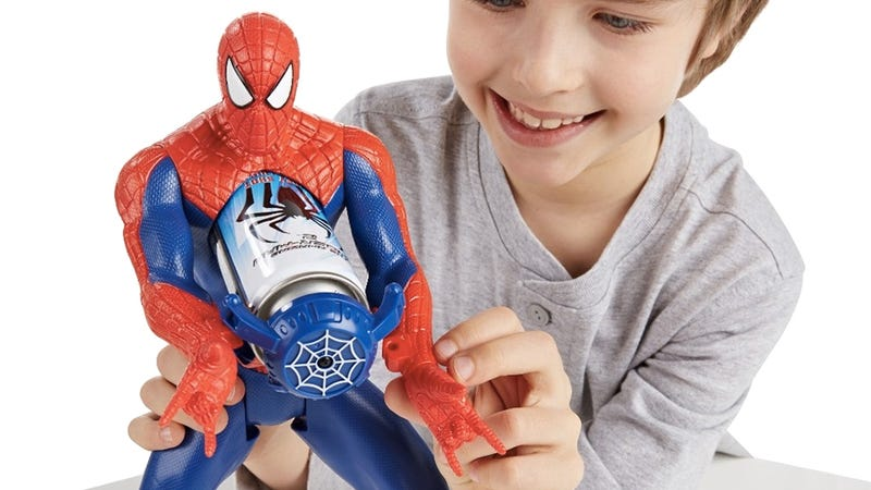 Illustration for article titled A Spider-Man Figure That Actually Shoots Webs—From His Chest?