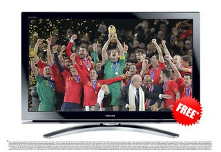 Illustration for article titled Toshiba Tries to Weasel Out of Free-TV-If-Spain-Wins World Cup Promotion