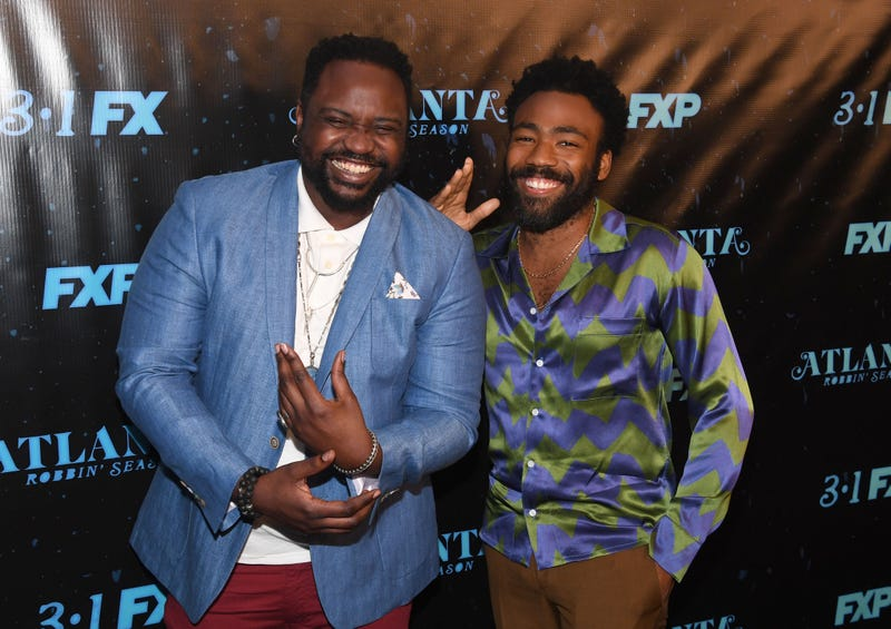 Brian Tyree Henry and Donald Glover attend the Atlanta season 2 premiere in Atlanta on Feb. 26, 2018.