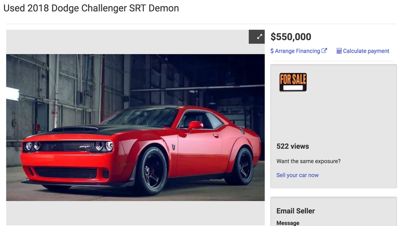 Illustration for article titled Someone's Really Trying To Sell A Used Dodge Challenger SRT Demon For $550,000