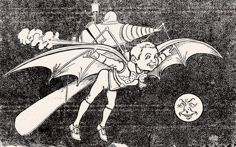 An illustration that appeared in the December 29, 1900 edition of the Minneapolis Journal newspaper showing the boy of the future and his flying machine