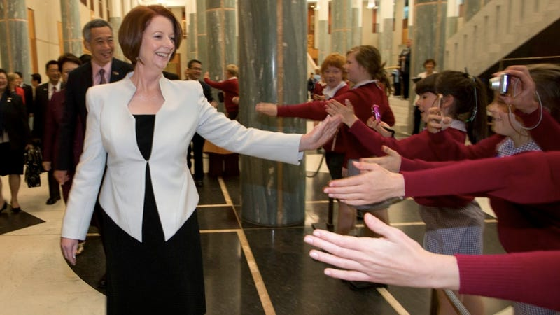 Illustration for article titled Everybody Queue to High Five Julia Gillard