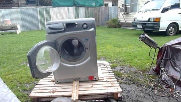 watching a washing machine self destruct never gets old. Black Bedroom Furniture Sets. Home Design Ideas