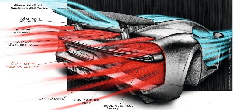 A sketch of the Chiron's aero, from Bugatti