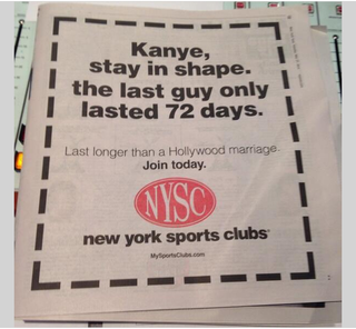 Illustration for article titled Gym Ad Already Predicting Kimye Divorce