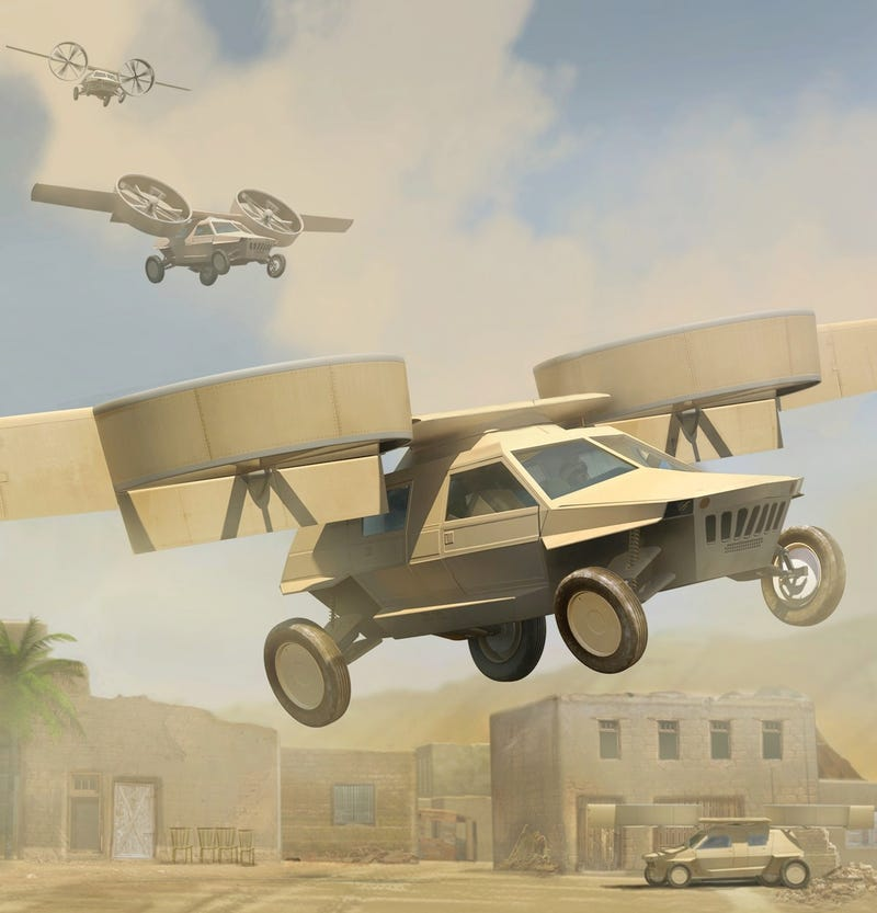 """Illustration for article titled These Are DARPA's """"Flying Humvee"""" Transformer Concepts"""