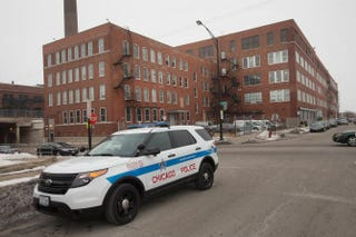 Chicago police vehicles are shown parked outside a police facility on the city's West Side Feb. 25, 2015.Scott Olson/Getty Images