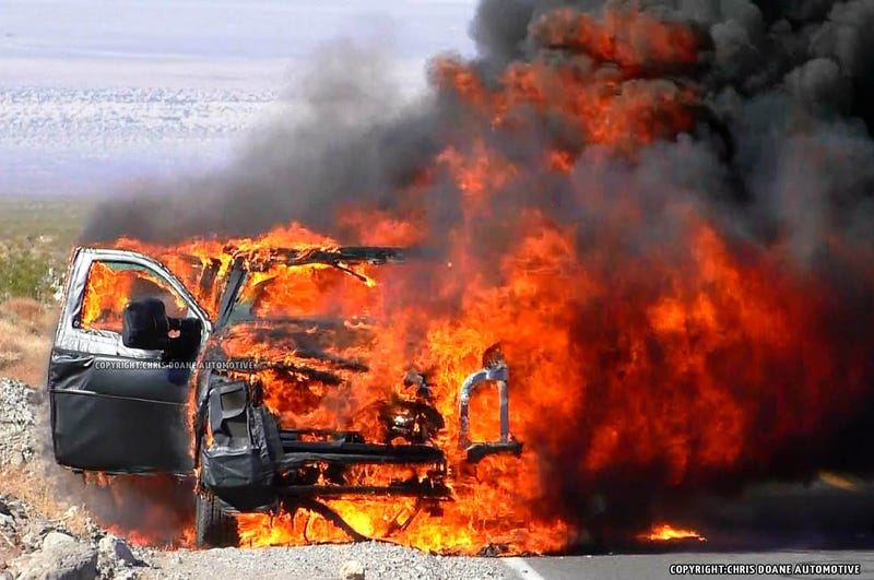 Illustration for article titled Ford Super Duty prototype melts down in the desert