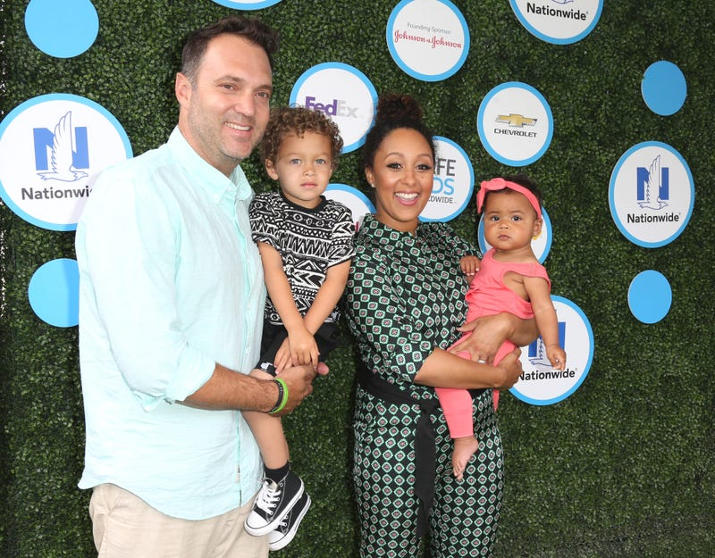 Tamera Mowry-Housley (second from right) with her husband, Adam Housley, and children, Aden John Tanner Housley (second from left) and Ariah Talea Housley on April 24, 2016, in Culver City, Calif.Frederick M. Brown/Getty Images